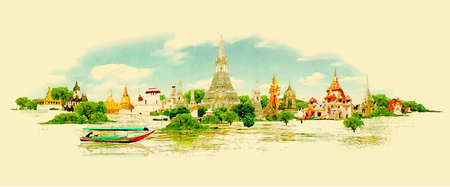 asian culture: water color vector panoramic bangkok view