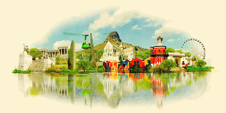 Illustrazione della città della CITTÀ DEL CAPO dell'acquerello di vettore Archivio Fotografico - 50942134