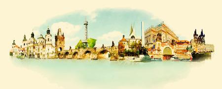 vector watercolor PRAGUE city illustration