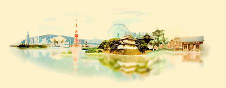 ponte giapponese: vettore acquerello città TOKYO illustrazione Vettoriali