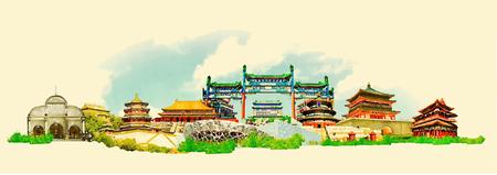 illustrazione vettoriale acquerello città di Pechino