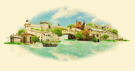 ireland cities: vector watercolor DUBLIN city illustration