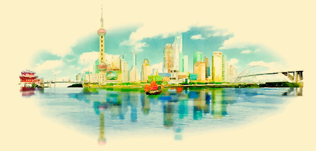 building color: vector watercolor SHANGHAI city illustration