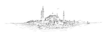 disegno vettoriale disegno silhouette istanbul