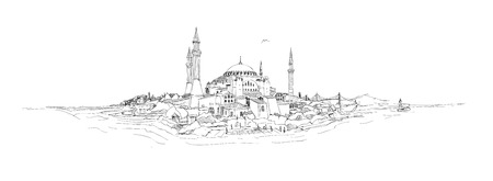 charcoal: vector sketch drawing istanbul silhouette