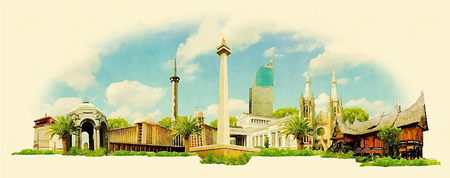 indonesia: vector watercolor JAKARTA city illustration