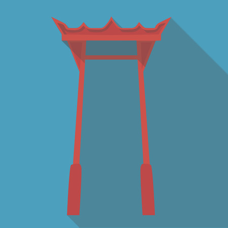 torii: Vector illustration long shadow flat icon of japanese temple torii gate Illustration