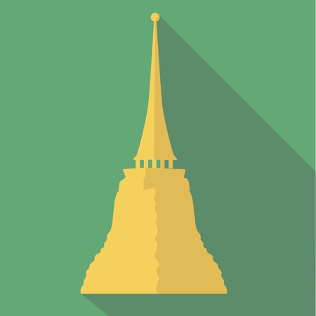 emerald city: Vector illustration long shadow flat icon of Golden mountain temple Illustration