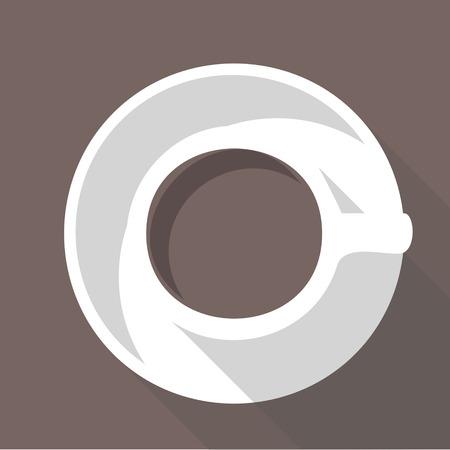 tazza di th�: Illustrazione vettoriale lunga ombra icona piatta di una tazza di caff� Vettoriali