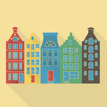 glass brick: Vector illustration long shadow flat icon of amsterdam houses Illustration