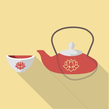 chinese tea pot: Vector illustration long shadow flat icon of traditional japanese tea set
