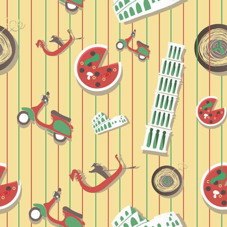italian food: Italy travel grunge seamless pattern with national italian food, sights, map and flag Illustration