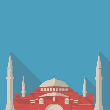 hagia: Vector illustration long shadow flat icon of hagia sophia mosque