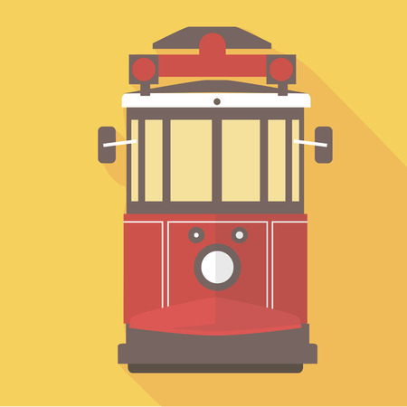 tramway: Vector illustration long shadow flat icon of istanbul street railway