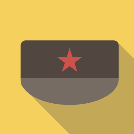 brim: Vector illustration long shadow flat icon of military patrol field cap Illustration