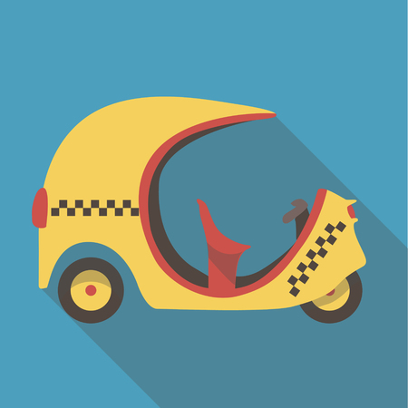 auto rickshaw: Vector illustration long shadow flat icon of tuk tuk