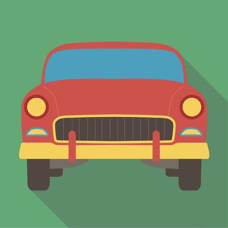 Ilustración del vector del icono plana larga sombra del coche americano clásico