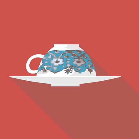 greek pot: Illustrazione vettoriale lunga ombra icona piatto di caffè turco Vettoriali