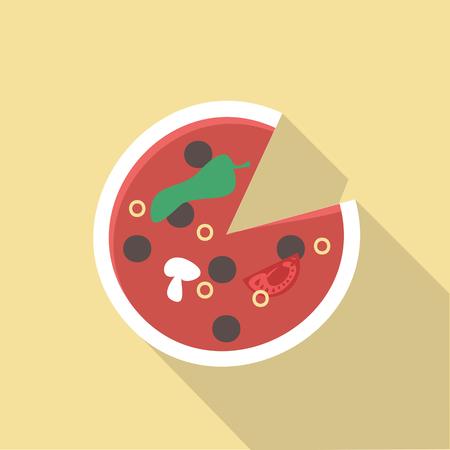 tomato slice: Vector illustration long shadow flat icon of pisa