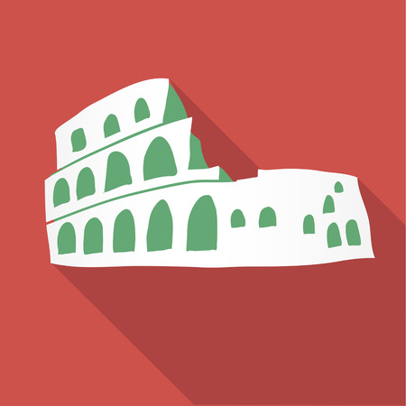 coliseum: Vector illustration long shadow flat icon of coliseum