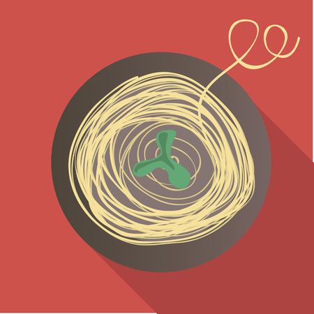Vector illustration long shadow flat icon of spaghetti