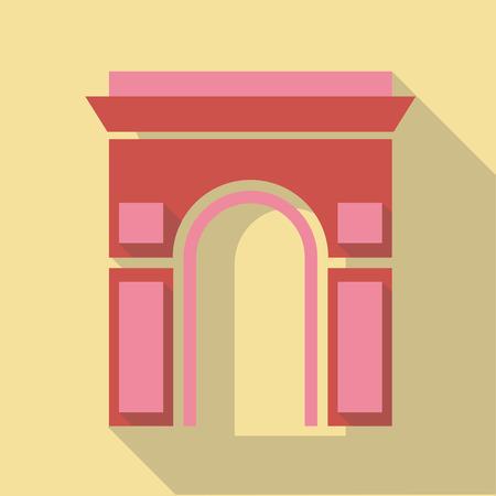 arc: Vector illustration long shadow flat icon of Arc de Triomphe