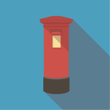 post box: Vector illustration long shadow flat icon of london red post box