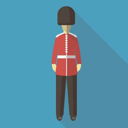 bearskin: Vector illustration long shadow flat icon of english guard