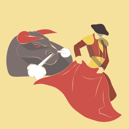 spanish bull: Vector illustration long shadow flat icon of bull fight