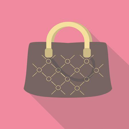 stylish women: Vector illustration long shadow flat icon of stylish women bag
