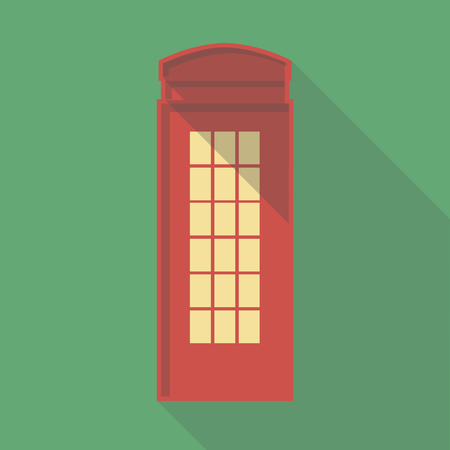 telephone box: Vector illustration long shadow flat icon of london telephone box