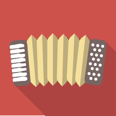 concertina: Vector illustration long shadow flat icon of accordeon Illustration
