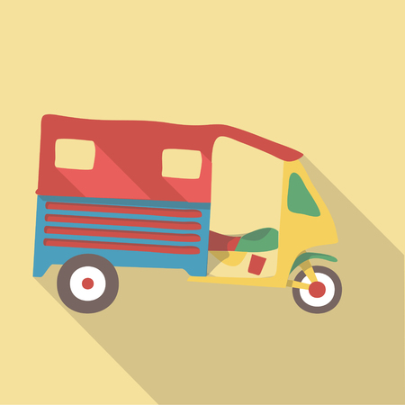 tuk tuk: Vector illustration long shadow flat icon of tuk tuk