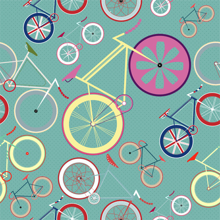 vector seamless blue background Fixed Gear Bike Pattern