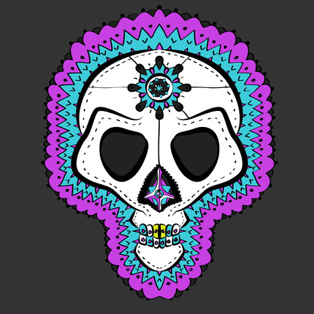skull and crossbones: Vector Illustrated Traditional Colored Mexican Sugar Skull Illustration