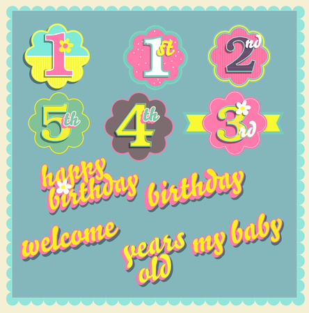 two child: Vector happy birthday card design template set