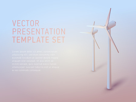 windfarm: vector 3d business theme presentation template set Illustration