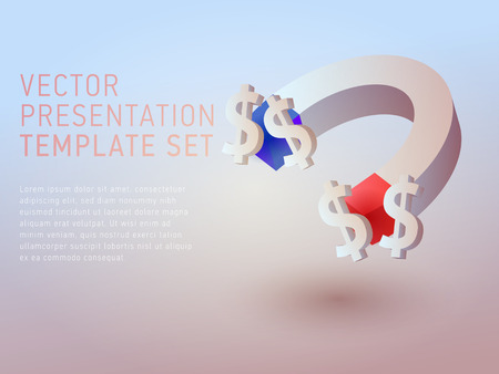 vector 3d business theme presentation template set Illustration