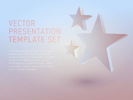 star background: vector 3d business theme presentation template set Illustration
