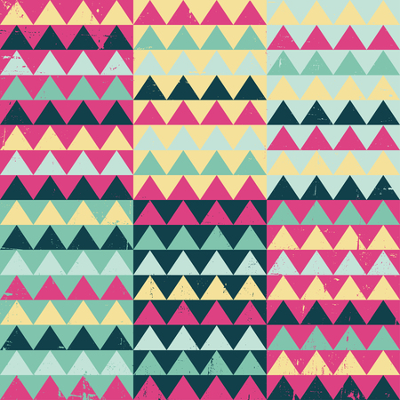 coloured background: Tribal Ethnic textile decorative aged distressed ornamental striped seamless aztec pattern(Grunge effect can be removed easily) Illustration