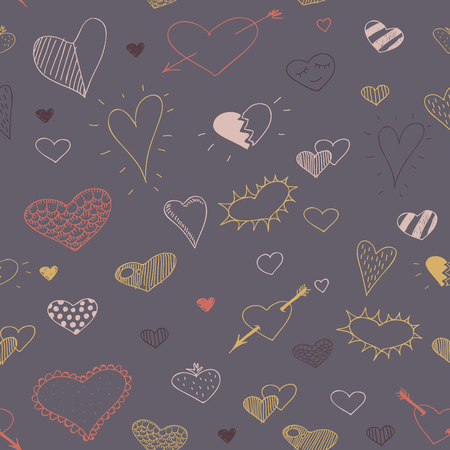 heart seamless pattern: vector sketch drawing heart seamless pattern design Illustration