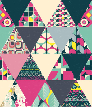vintage design: vector seamless patchwork style abstract geometric pattern Illustration