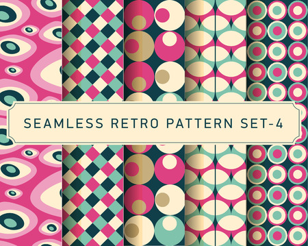 vector seamless retro geometric pattern design set