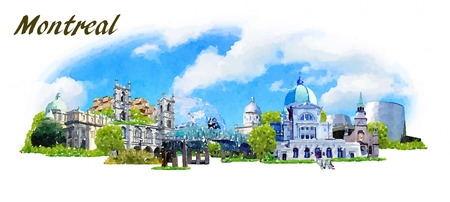montreal city: vector panoramic water color  illustration of MONTREAL city