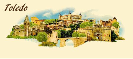 ilustración en color panorámica vectores de agua de la ciudad de Toledo Ilustración de vector