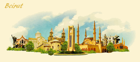 vector panoramic water color illustration of BEIRUT city Stock Illustratie