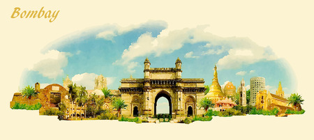 vector panoramic water color illustration of BOMBAY city
