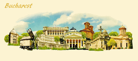 water  panoramic: vector panoramic water color illustration of BUCHAREST city Illustration