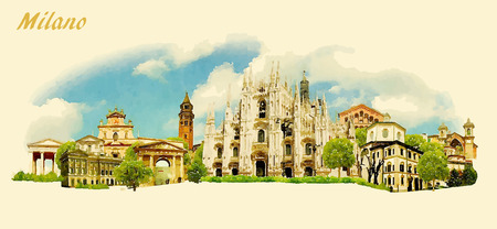 vector panoramic water color illustration of MILANO city Иллюстрация