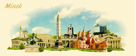 water  panoramic: vector panoramic water color illustration of MINSK city Illustration